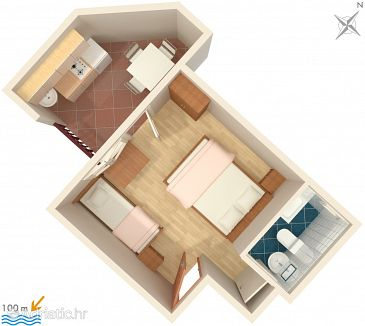 Stúdió AS-2688-b - Apartmanok és szobák Drvenik Gornja vala (Makarska) - 2688