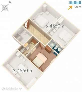 Garsonieră AS-4550-a - Apartamente și camere Drače (Pelješac) - 4550