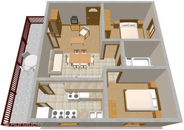 Seget Vranjica, Plan u smještaju tipa apartment, dopusteni kucni ljubimci.