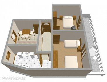 Rogoznica, Plan u smještaju tipa apartment, dopusteni kucni ljubimci i WIFI.