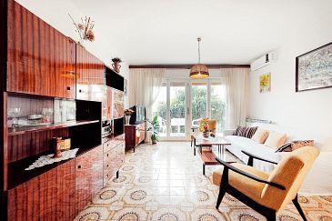 Rogoznica, Living room u smještaju tipa apartment, dostupna klima, dopusteni kucni ljubimci i WIFI.