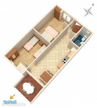 Rukavac, Plan u smještaju tipa apartment, dopusteni kucni ljubimci i WIFI.