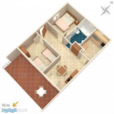 Vinišće, Plan u smještaju tipa apartment.