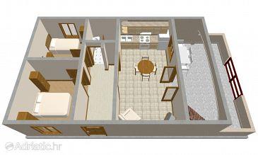 Prižba, Plan u smještaju tipa apartment, dopusteni kucni ljubimci i WIFI.