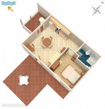Zavalatica, Plan u smještaju tipa apartment, dopusteni kucni ljubimci i WIFI.