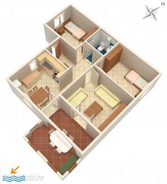 Košljun, Plan u smještaju tipa apartment, dopusteni kucni ljubimci.