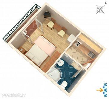 Uvala Pokrivenik, Plan u smještaju tipa studio-apartment, dopusteni kucni ljubimci.