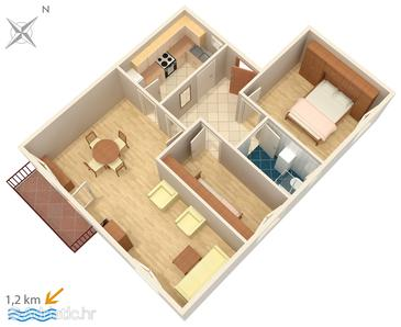 Orašac, Plan u smještaju tipa apartment, dopusteni kucni ljubimci.