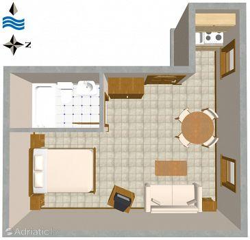 Rovinj, Plan u smještaju tipa studio-apartment, dopusteni kucni ljubimci.