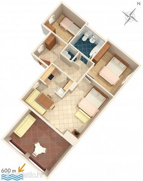 Premantura, Plan kwatery u smještaju tipa apartment, dopusteni kucni ljubimci i WIFI.