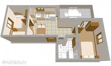 Povljana, Plan u smještaju tipa apartment, WIFI.