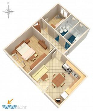 Novi Vinodolski, Plan kwatery u smještaju tipa apartment.