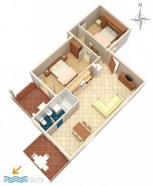 Jadranovo, Plan u smještaju tipa apartment, dopusteni kucni ljubimci i WIFI.