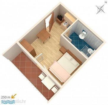 Selce, Plan u smještaju tipa studio-apartment, WIFI.