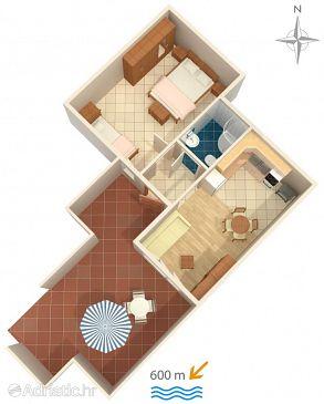 Novi Vinodolski, Plan u smještaju tipa apartment, WIFI.