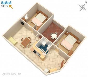 Karigador, Grundriss in folgender Unterkunftsart apartment, dopusteni kucni ljubimci i WIFI.