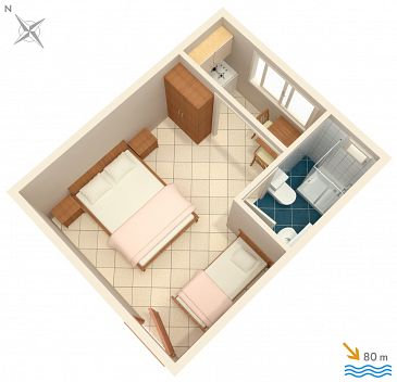 Studio AS-2575-g - Apartamenty Podaca (Makarska) - 2575