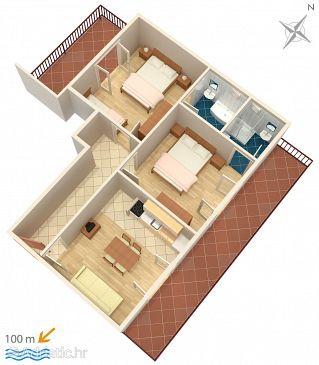 Baška Voda, Plan u smještaju tipa apartment, dopusteni kucni ljubimci i WIFI.