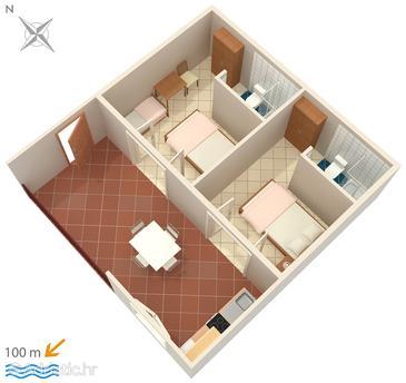 Podaca, Plan u smještaju tipa apartment, dopusteni kucni ljubimci i WIFI.