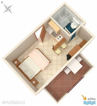 Orebić, Plan kwatery u smještaju tipa studio-apartment, dopusteni kucni ljubimci i WIFI.