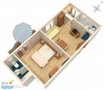Drašnice, Plan u smještaju tipa apartment, dopusteni kucni ljubimci i WIFI.