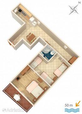 Promajna, Plan u smještaju tipa apartment, WIFI.