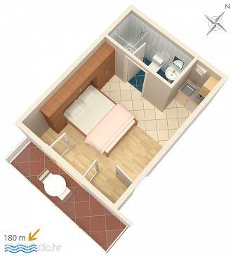 Omiš, Plan kwatery u smještaju tipa studio-apartment, WIFI.