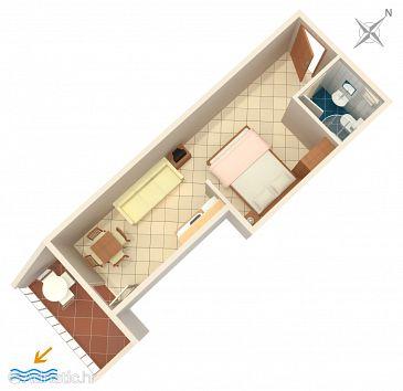 Komarna, Plan u smještaju tipa studio-apartment, WIFI.
