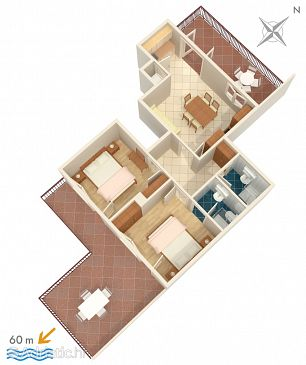 Orebić, Plan u smještaju tipa apartment, WIFI.