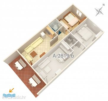 Stanići, Plan u smještaju tipa apartment, dopusteni kucni ljubimci i WIFI.