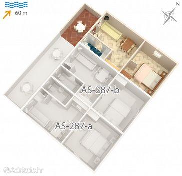 Vir, Plan u smještaju tipa studio-apartment, dopusteni kucni ljubimci.