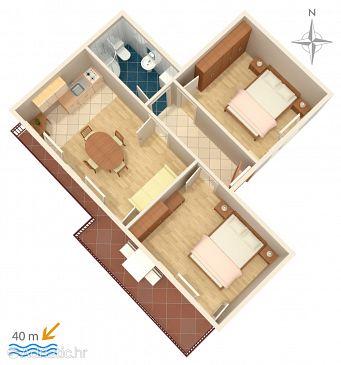 Sumpetar, Plan u smještaju tipa apartment, WIFI.