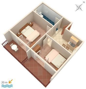 Apartament A-303-d - Apartamenty Drvenik Donja vala (Makarska) - 303