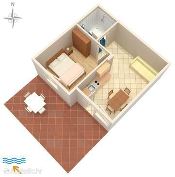 Dajla, Plan u smještaju tipa apartment, WIFI.