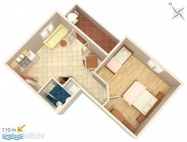 Trpanj, Plan u smještaju tipa apartment, dopusteni kucni ljubimci i WIFI.
