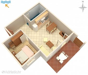 Kampor, Plan u smještaju tipa apartment, WIFI.