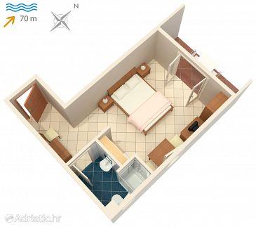 Vinjerac, Plan u smještaju tipa studio-apartment, dopusteni kucni ljubimci i WIFI.