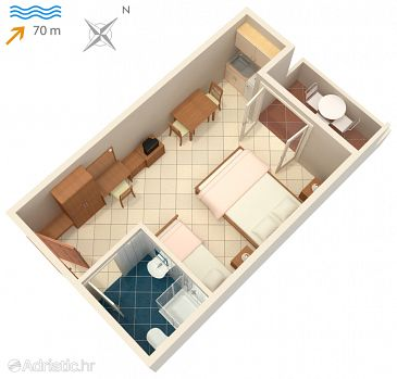 Studio flat AS-3248-l - Apartments and Rooms Vinjerac (Zadar) - 3248