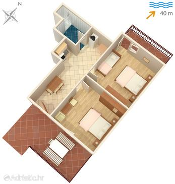 Neviđane, Plan u smještaju tipa apartment, WIFI.