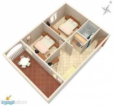 Petrčane, Plan u smještaju tipa apartment, dopusteni kucni ljubimci i WIFI.