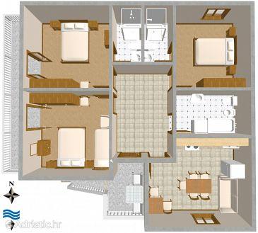 Turanj, Plan kwatery w zakwaterowaniu typu apartment, WIFI.