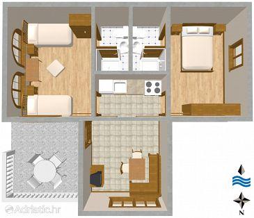 Biograd na Moru, Plan u smještaju tipa apartment, WIFI.