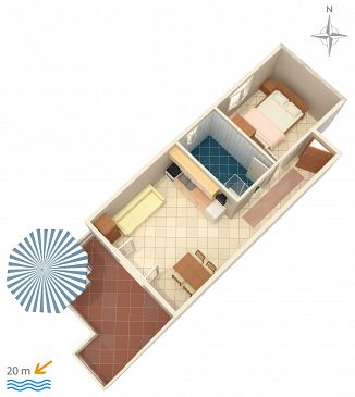 Apartament A-4055-c - Apartamenty Stara Novalja (Pag) - 4055