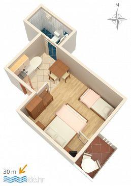 Zubovići, Plan u smještaju tipa studio-apartment, dopusteni kucni ljubimci i WIFI.