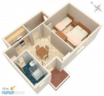 Kustići, Plan u smještaju tipa apartment, WIFI.