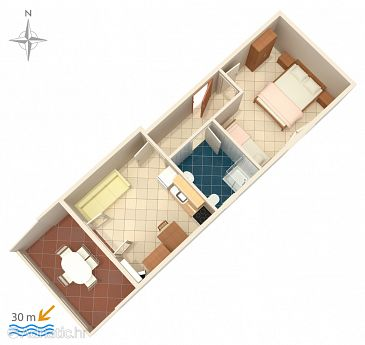 Apartment A-4129-a - Apartments Kustići (Pag) - 4129