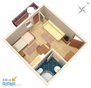 Vodice, Plan u smještaju tipa studio-apartment.