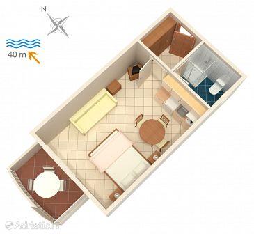 Bilo, Plan u smještaju tipa studio-apartment.