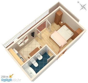 Hvar, Plan u smještaju tipa studio-apartment.