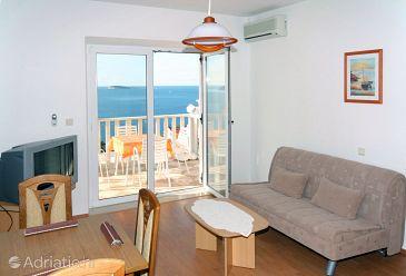 Soline, Living room u smještaju tipa apartment, dostupna klima i WIFI.